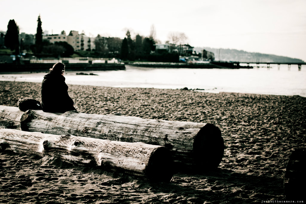Stranger waiting for spring at Kits Beach